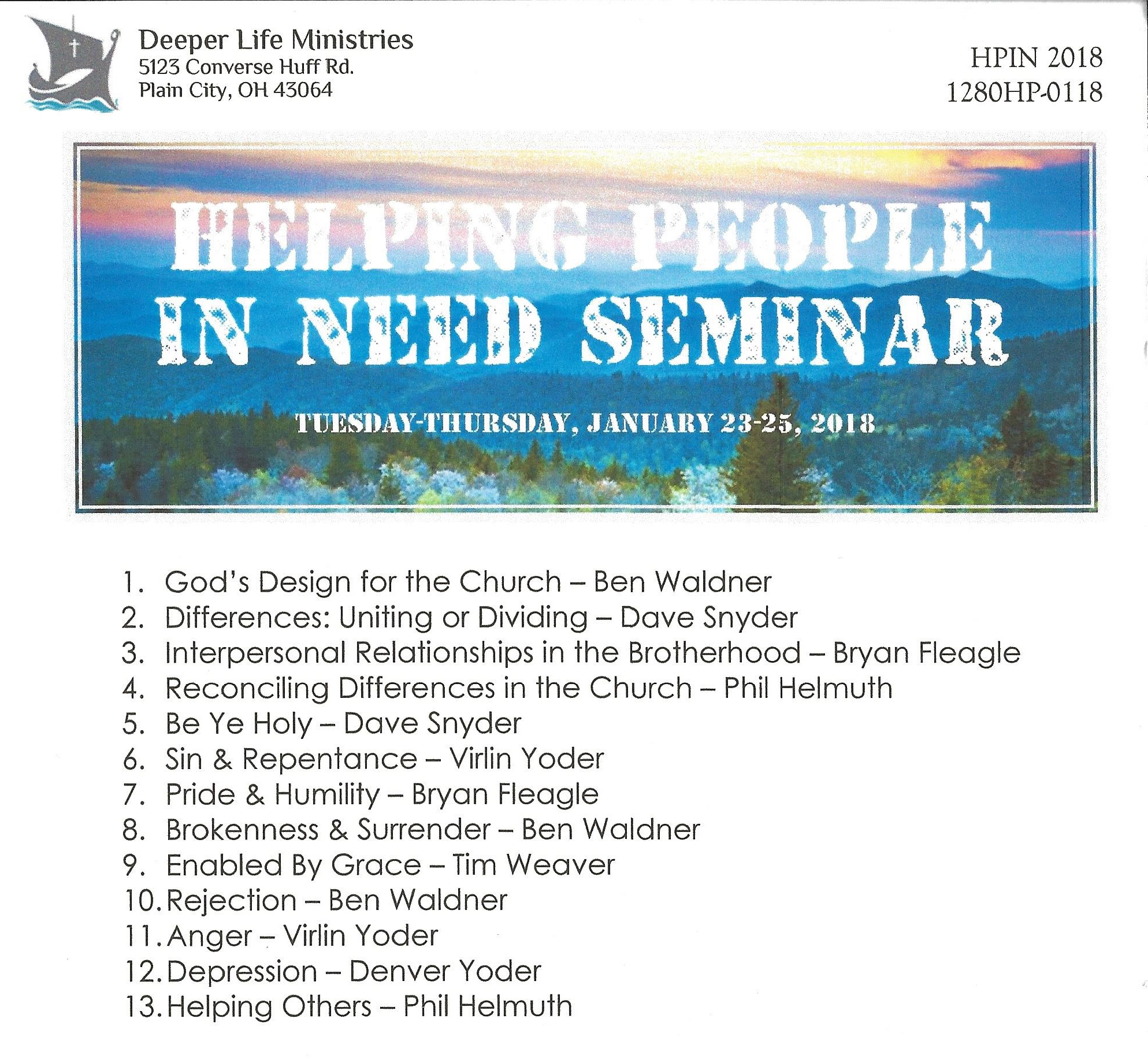 HELPING PEOPLE IN NEED SEMINAR 2018 Various Speakers