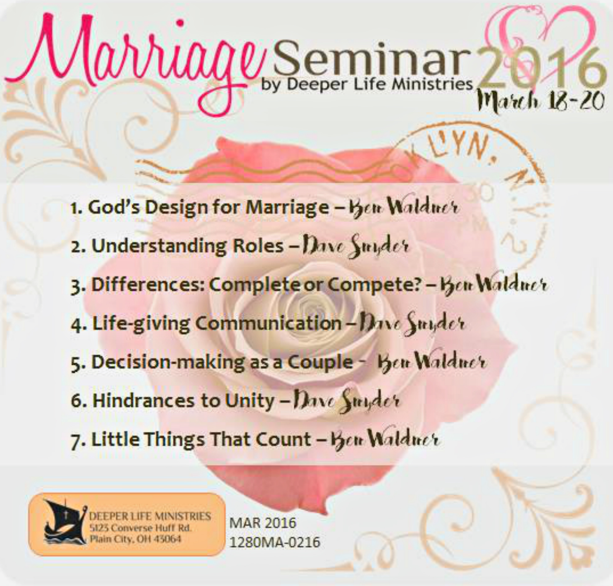 MARRIAGE SEMINAR 2016 Snyder and Waldner