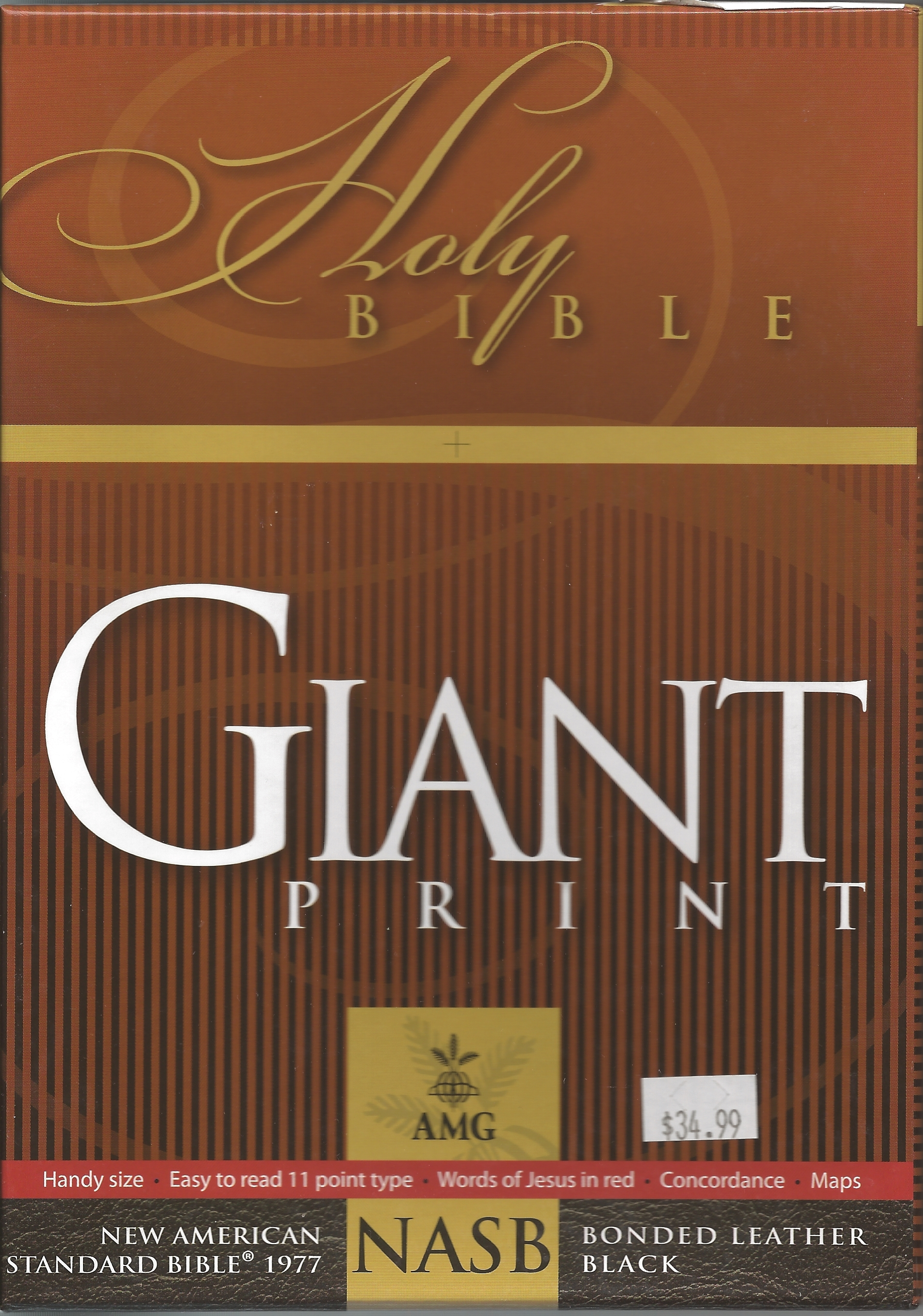 NASB GIANT PRINT HANDY-SIZE Black bonded leather